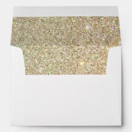 Gold Glitter Sparkles Pink Floral Wedding 5x7 Envelope