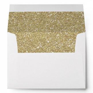 Gold Glitter Sparkles Return Address for 5x7 Card Envelope
