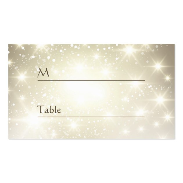 Gold glitter sparkles wedding table place card double for Table 52 cards