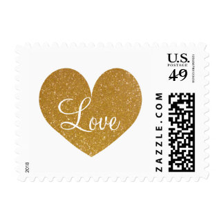 Gold glitter sparkly love heart postage stamps