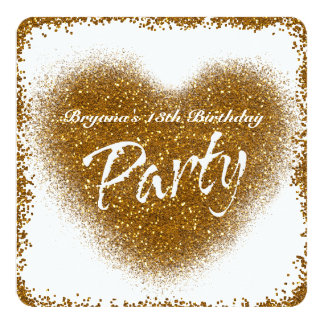 Gold Glitter Spill Heart Glamour PARTY Invitations