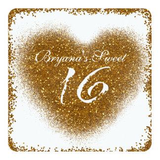 Gold Glitter Spill Sweet 16 Heart Glam Invitations