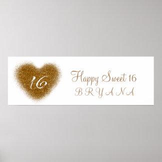 Gold Glitter Spill Sweet 16 Heart Party Banner Poster