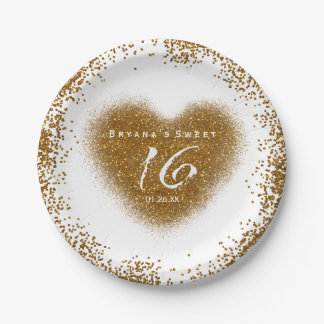 Gold Glitter Spill Sweet 16 Heart Party Plates