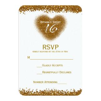 Gold Glitter Spill Sweet 16 Heart RSVP Card