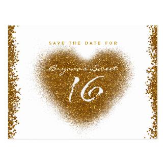 Gold Glitter Spill Sweet 16 Heart Save The Date Postcard