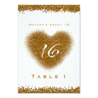 Gold Glitter Spill Sweet 16 Heart Table Number Card