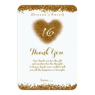 Gold Glitter Spill Sweet 16 Heart Thank You Card
