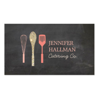 Gold Glitter Spoon Whisk Spatula Bakery Logo II Business Card