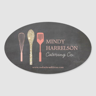 Gold Glitter Spoon Whisk Spatula Bakery Logo II Oval Sticker