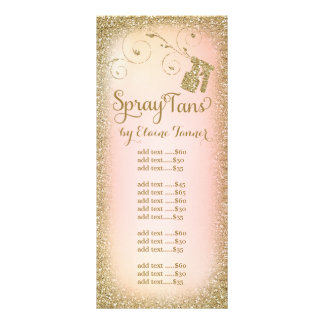 Gold Glitter Spray Tan Rack Card