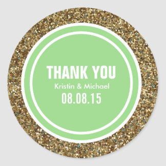 Gold Glitter Spring Green Custom Thank You Label Classic Round Sticker