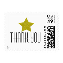 GOLD GLITTER STAR THANK YOU POSTAGE STAMP