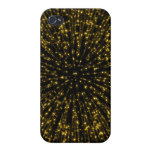 Gold Glitter Starburst Sunburst Firework Sparkle iPhone 4 Cases