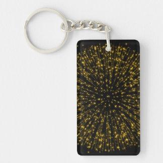 Gold Glitter Starburst Sunburst Firework Sparkle Keychain