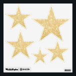 """Gold Glitter Stars Room Wall Decals<br><div class=""""desc"""">Use these unique,  one of a kind,  designer wall decals (exclusive to ZAZZLE ONLY) anywhere you like...  have them decorate a party,  in  your daughters room,  at your school classroom,  your guests photo booth etc!    Gorgeous quality,  fabric decals that are re-positionable over and over and over again.</div>"""