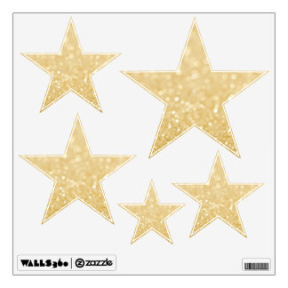 Gold Glitter Stars Room Wall Decals