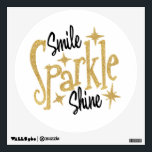 "Gold Glitter Stars Smile Sparkle Shine Wall Sticker<br><div class=""desc"">Inspiring and motivating wall sticker - Smile Sparkle Shine - Glittery Gold and Black text</div>"