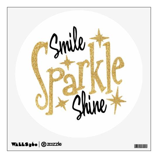 gold glitter stars smile sparkle shine wall sticker   zazzle