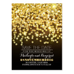 Gold glitter string of lights glitz save the date postcard