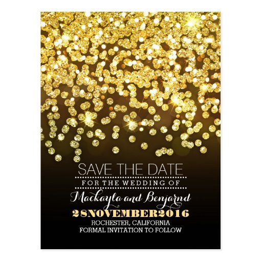 Gold glitter string of lights glitz save the date postcard Zazzle