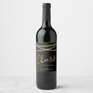 Gold Glitter Strings | Cheers to the New Year Wine Label