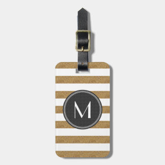 Gold Glitter Striped Black Monogram Luggage Tag