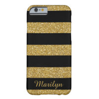Gold Glitter Stripes, Black Personalized Barely There iPhone 6 Case