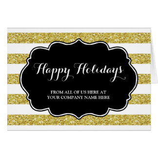 Gold Glitter Stripes Corporate Christmas Card