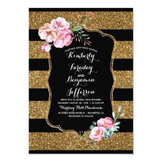 Gold Glitter Stripes Floral Vintage Wedding Card