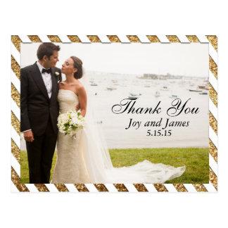 Gold Glitter Stripes Thank You Wedding Postcards
