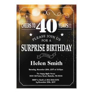 Gold Glitter Surprise 40th Birthday Invitation