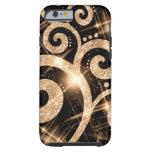 Gold Glitter Swirl Tough iPhone 6 Case