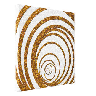 Gold Glitter Swirly Gallery Wrapped Canvas