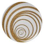 Gold Glitter Swirly Dinner Plates