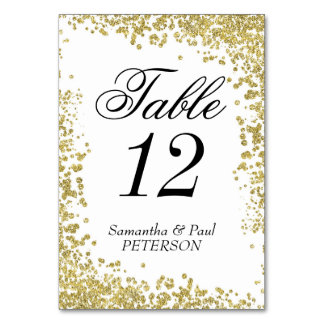"""Gold Glitter Table Number Card, 3.5"""" x 5"""""""