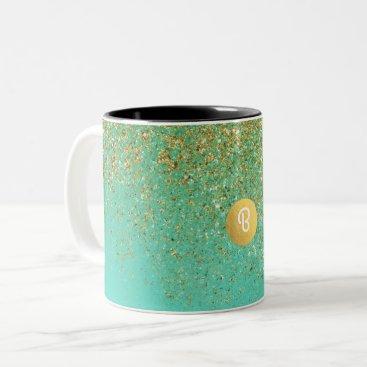 Gold Glitter & Teal Aqua Glam Custom Monogram Two-Tone Coffee Mug
