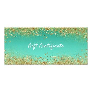 Gold Glitter & Teal Aqua Glam Gift Certificate