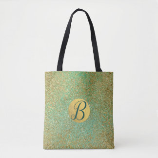 Gold Glitter Teal Aqua Green Glam Trendy Chic Tote Bag