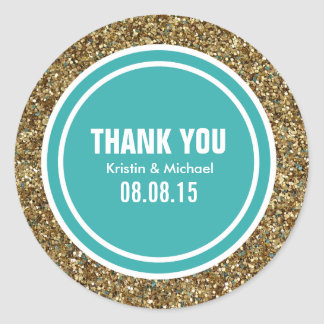 Gold Glitter Teal Green Custom Thank You Label Classic Round Sticker