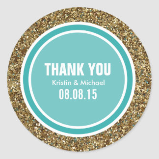 Gold Glitter & Teal Green Thank You Label Classic Round Sticker
