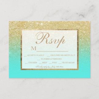 Gold glitter teal ocean aqua ombre RSVP wedding