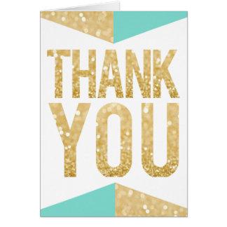 Gold Glitter & Teal Wedding Thank You Card