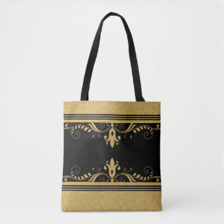 Gold Glitter Texture & Floral Swirls Tote Bag