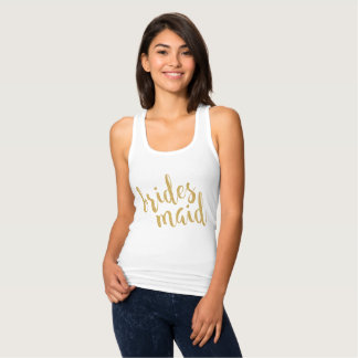 Gold Glitter Texture Text Brides Maid Tank Top
