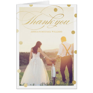 Gold Glitter Thank You Cards   Wedding