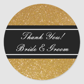 Gold glitter Thank you stickers for wedding favors