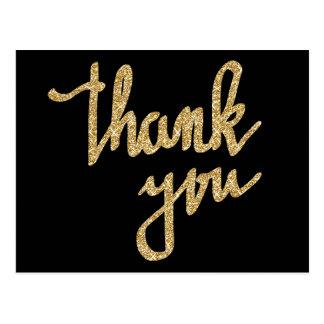 Gold Glitter Thank You Typography Script Postcard