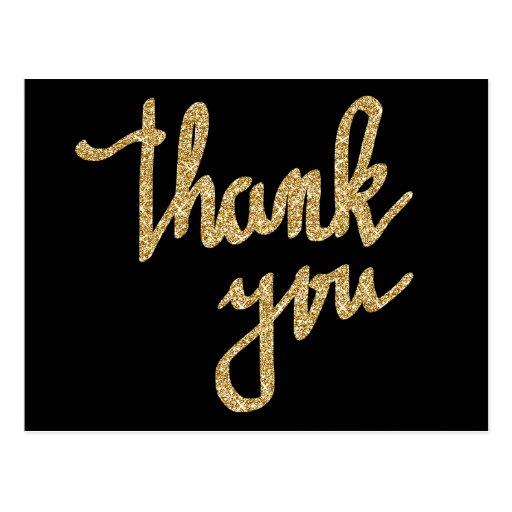 Gold Glitter Thank You Typography Script Postcard Zazzle