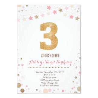 Gold Glitter Third Birthday Invitation